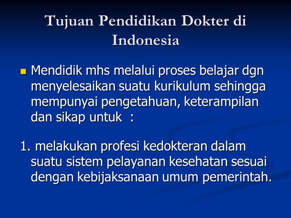 Tujuan Pendidikan Dokter di Indonesia Mendidik mhs melalui proses belajar dgn menyelesaikan suatu kurikulum sehingga mempunyai pengetahuan, keterampil