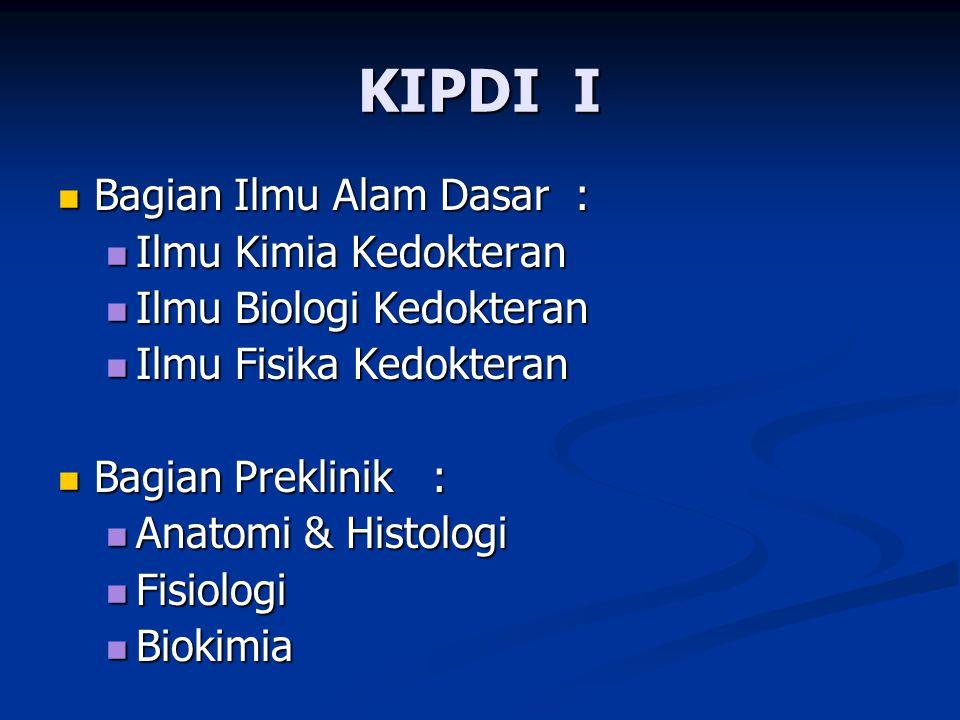 KIPDI I Bagian Ilmu Alam Dasar : Bagian Ilmu Alam Dasar : Ilmu Kimia Kedokteran Ilmu Kimia Kedokteran Ilmu Biologi Kedokteran Ilmu Biologi Kedokteran