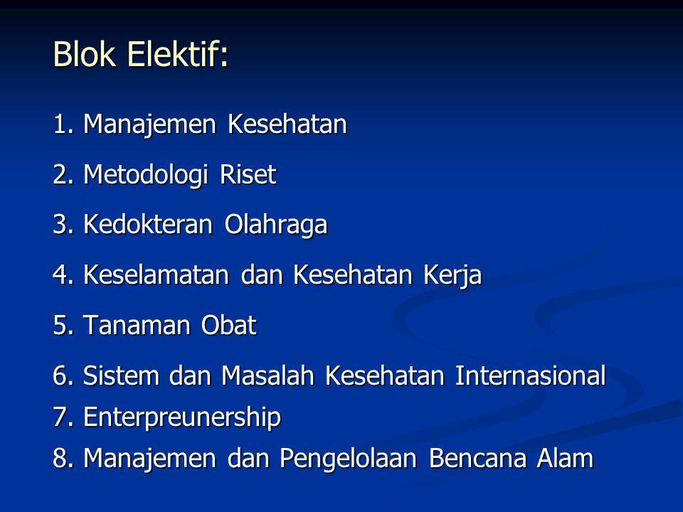 Blok Elektif: 1. Manajemen Kesehatan 2. Metodologi Riset 3. Kedokteran Olahraga 4. Keselamatan dan Kesehatan Kerja 5. Tanaman Obat 6. Sistem dan Masal