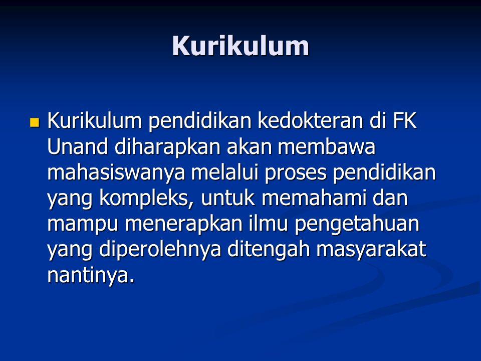 Kurikulum Kurikulum pendidikan kedokteran di FK Unand diharapkan akan membawa mahasiswanya melalui proses pendidikan yang kompleks, untuk memahami dan