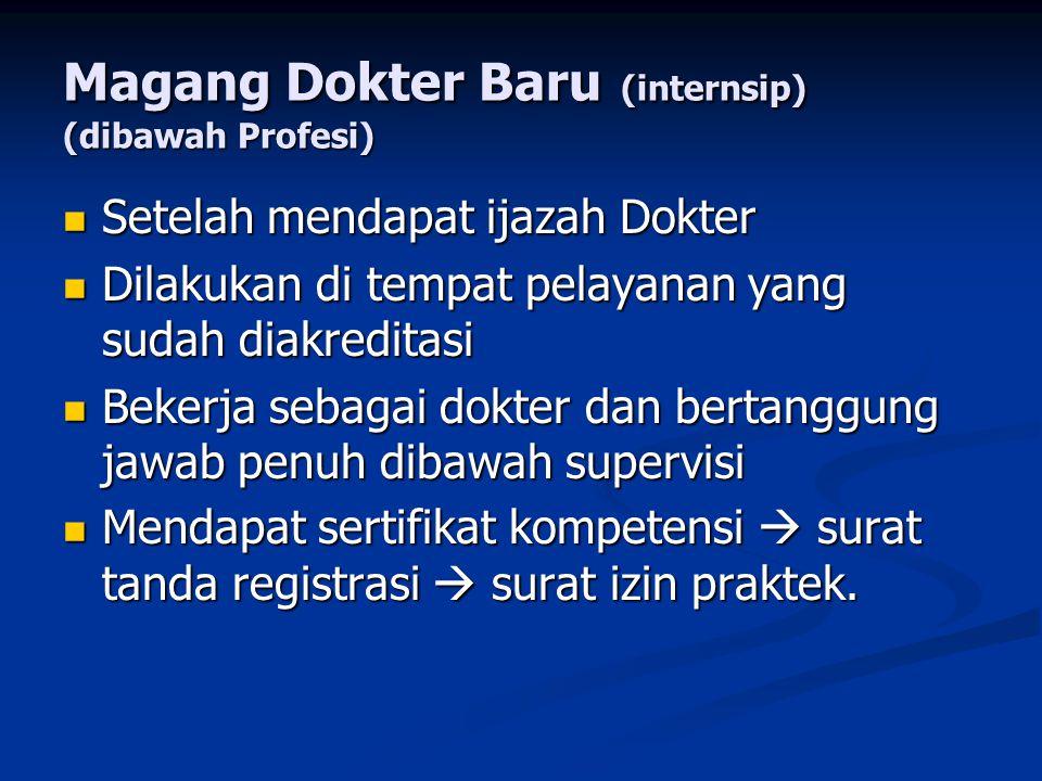 Magang Dokter Baru (internsip) (dibawah Profesi) Setelah mendapat ijazah Dokter Setelah mendapat ijazah Dokter Dilakukan di tempat pelayanan yang suda