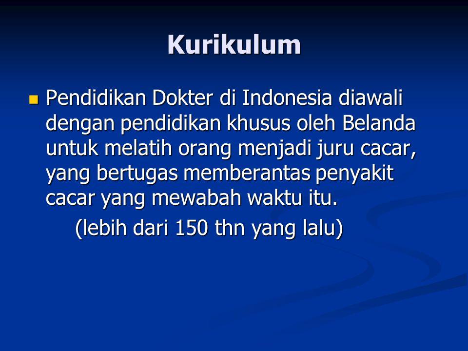 Kurikulum Pendidikan Dokter di Indonesia diawali dengan pendidikan khusus oleh Belanda untuk melatih orang menjadi juru cacar, yang bertugas memberant