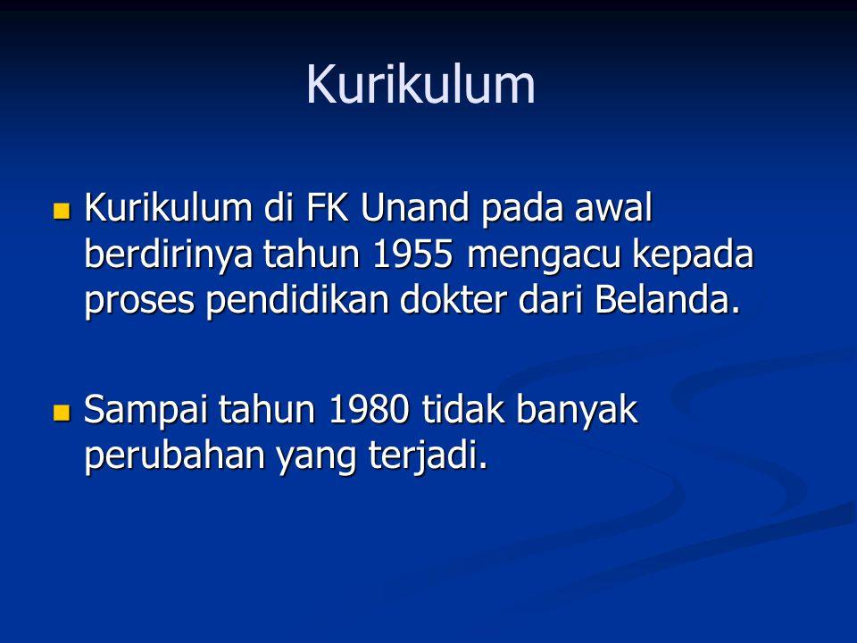 Kurikulum Kurikulum di FK Unand pada awal berdirinya tahun 1955 mengacu kepada proses pendidikan dokter dari Belanda. Kurikulum di FK Unand pada awal