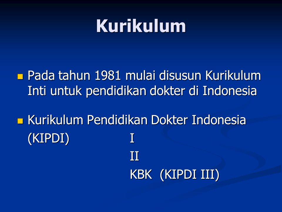 Kurikulum Pada tahun 1981 mulai disusun Kurikulum Inti untuk pendidikan dokter di Indonesia Pada tahun 1981 mulai disusun Kurikulum Inti untuk pendidi