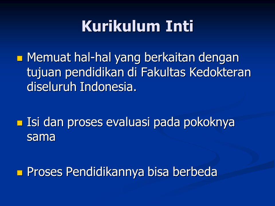 Kurikulum Inti Memuat hal-hal yang berkaitan dengan tujuan pendidikan di Fakultas Kedokteran diseluruh Indonesia. Memuat hal-hal yang berkaitan dengan