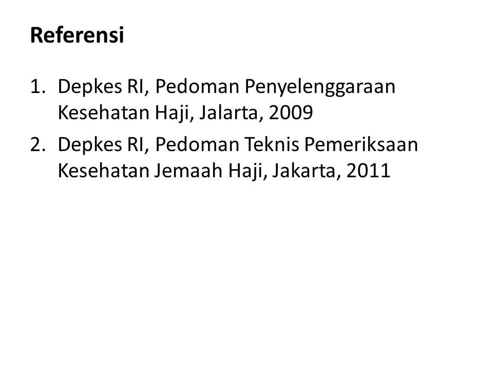Referensi 1.Depkes RI, Pedoman Penyelenggaraan Kesehatan Haji, Jalarta, 2009 2.Depkes RI, Pedoman Teknis Pemeriksaan Kesehatan Jemaah Haji, Jakarta, 2
