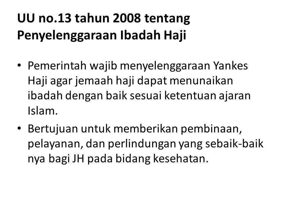 UU no.13 tahun 2008 tentang Penyelenggaraan Ibadah Haji Pemerintah wajib menyelenggaraan Yankes Haji agar jemaah haji dapat menunaikan ibadah dengan b