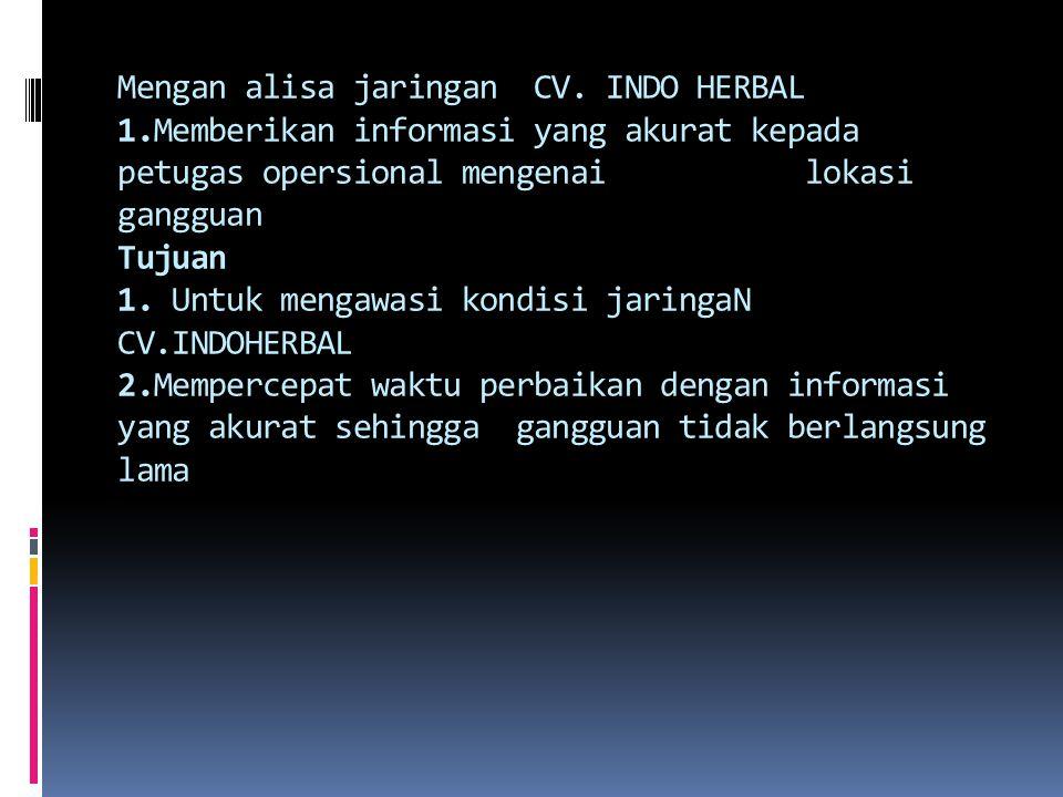 Mengan alisa jaringan CV. INDO HERBAL 1.Memberikan informasi yang akurat kepada petugas opersional mengenai lokasi gangguan Tujuan 1. Untuk mengawasi