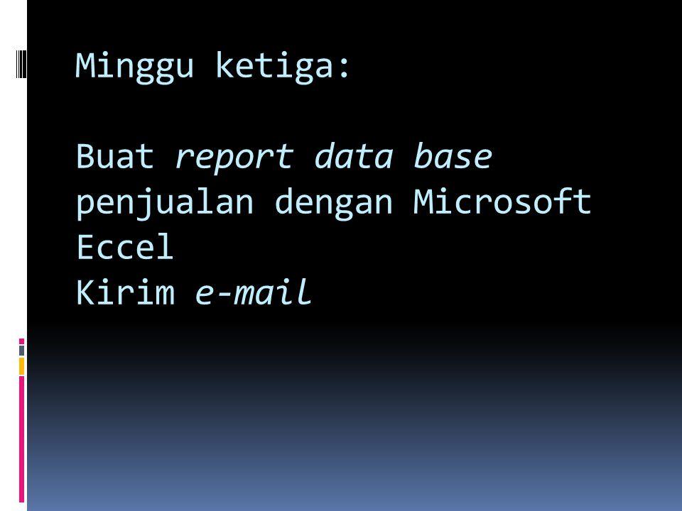 Minggu ketiga: Buat report data base penjualan dengan Microsoft Eccel Kirim e-mail