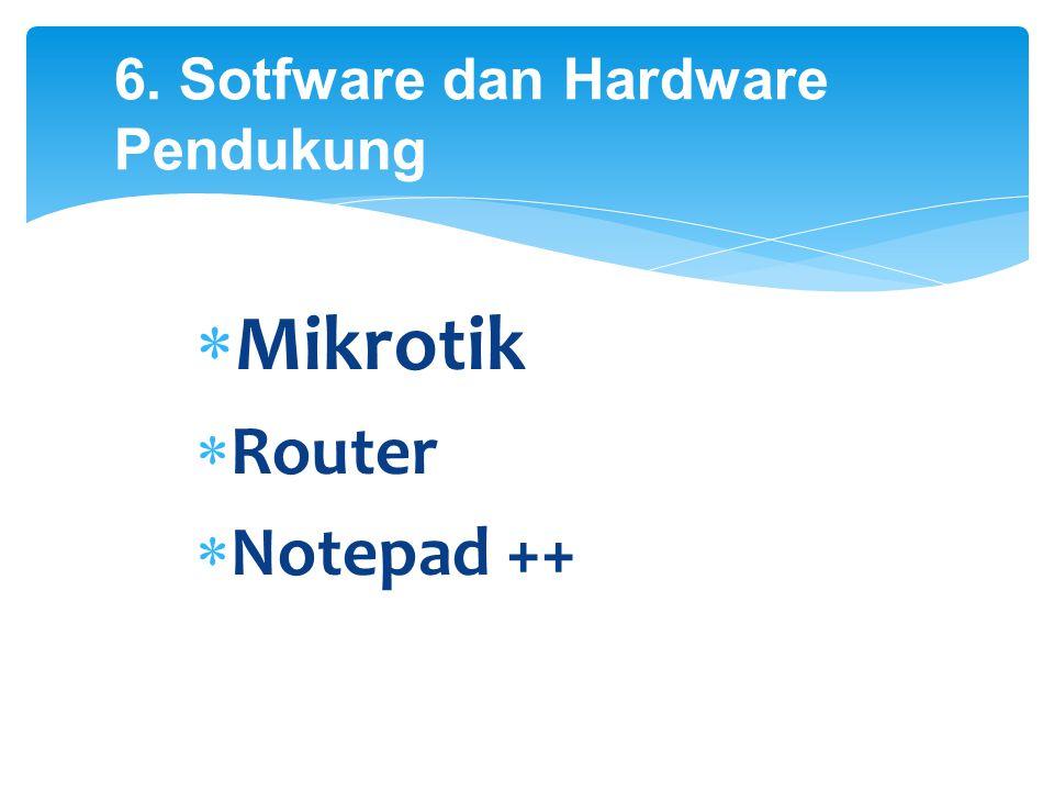 6. Sotfware dan Hardware Pendukung  Mikrotik  Router  Notepad ++