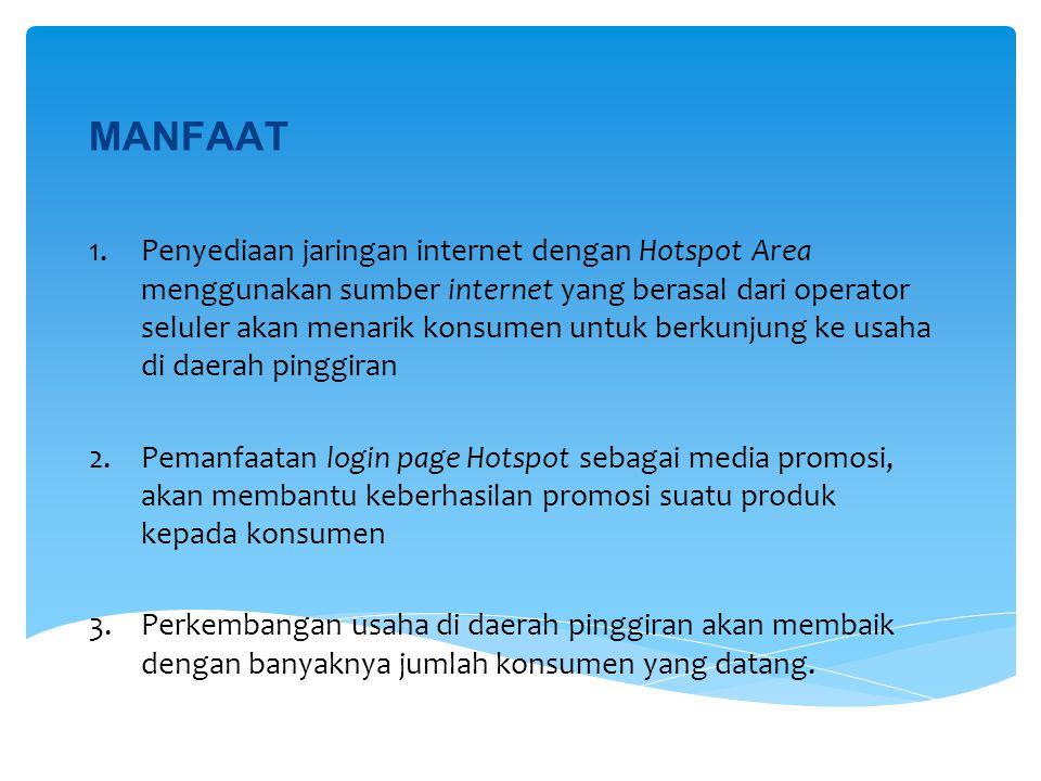 MANFAAT 1.Penyediaan jaringan internet dengan Hotspot Area menggunakan sumber internet yang berasal dari operator seluler akan menarik konsumen untuk