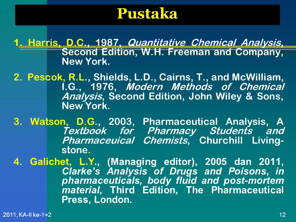 122011, KA-II ke-1+2 Pustaka 1. Harris, D.C., 1987, Quantitative Chemical Analysis, Second Edition, W.H. Freeman and Company, New York. 2. Pescok, R.L