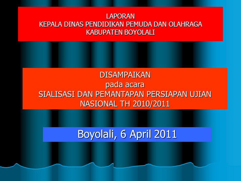 LAPORAN KEPALA DINAS PENDIDIKAN PEMUDA DAN OLAHRAGA KABUPATEN BOYOLALI Boyolali, 6 April 2011 DISAMPAIKAN pada acara SIALISASI DAN PEMANTAPAN PERSIAPA