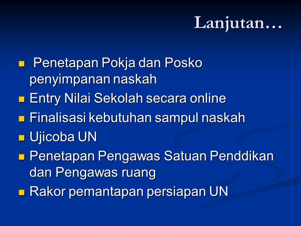 Lanjutan… Penetapan Pokja dan Posko penyimpanan naskah Penetapan Pokja dan Posko penyimpanan naskah Entry Nilai Sekolah secara online Entry Nilai Seko