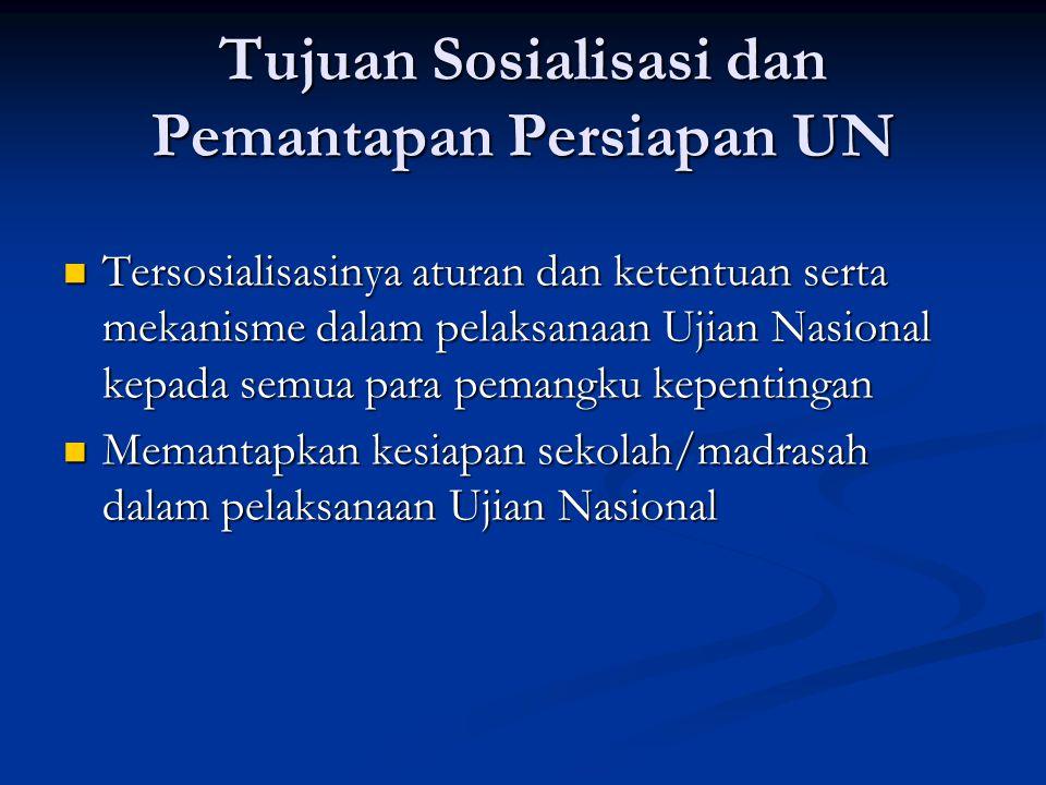 Tujuan Sosialisasi dan Pemantapan Persiapan UN Tersosialisasinya aturan dan ketentuan serta mekanisme dalam pelaksanaan Ujian Nasional kepada semua pa
