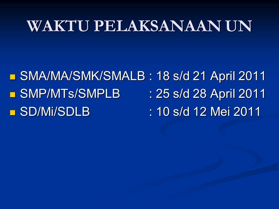WAKTU PELAKSANAAN UN SMA/MA/SMK/SMALB: 18 s/d 21 April 2011 SMA/MA/SMK/SMALB: 18 s/d 21 April 2011 SMP/MTs/SMPLB: 25 s/d 28 April 2011 SMP/MTs/SMPLB: