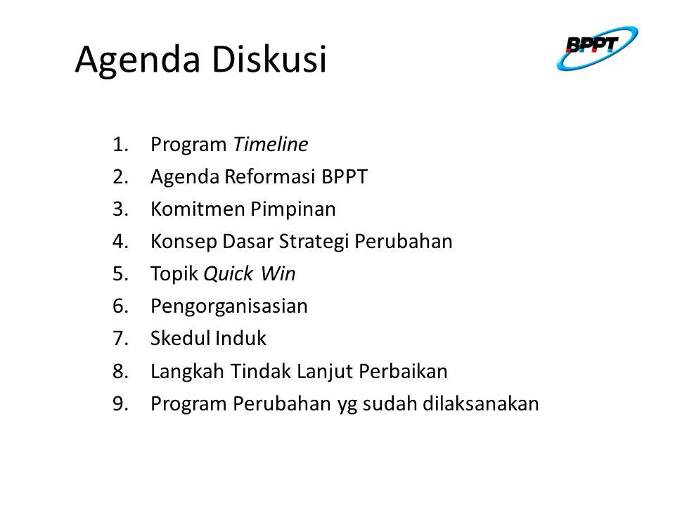 Agenda Diskusi 1.Program Timeline 2.Agenda Reformasi BPPT 3.Komitmen Pimpinan 4.Konsep Dasar Strategi Perubahan 5.Topik Quick Win 6.Pengorganisasian 7.Skedul Induk 8.Langkah Tindak Lanjut Perbaikan 9.Program Perubahan yg sudah dilaksanakan