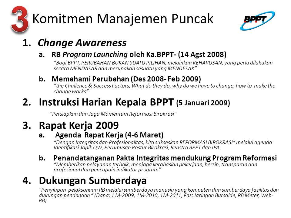 Agenda Tindak Lanjut RB -2009 TIMTEKNIS(POKJA-2) Mempersiapkan Program Tindak-Lanjut Rekomendasi TIM- Penilai Independen Konsolidasi Tim Teknis POKJA-RB dan Penyusunan Rencana Tindak Sis.Development RB Melakukan Monitoring & Evaluasi Program RB (Sys.Development dan Implementasi) Membuat Laporan Periodik kepada Ka.BPPT sebagai Kepala Program TIMIMPLEMENTASI Membentuk Tim Implementasi RB di UK melalui SK Sestama/Deputi (contoh terlampir) Menyusun rencana tindak program RB di UK & disahkan oleh Sestama/Deputi Menyusun dan mengesahkan KPI UK Es.2 yang pernah dibuat Penyusunan, penerapan & penilaian SKI kpd seluruh pegawai Membuat Laporan Periodik kepada Ka.BPPT sebagai Kepala Program TIMTEKNIS Mempersiapkan Program Sys.Development RB fokus pada Agenda Prioritas (Pokja-1,2, 3, &4) Mempersiapkan Program Sosialisasi Agenda Prioritas pada seluruh Unit Kerja Melakukan Monitoring & Evaluasi Program RB (Sys.Development dan Implementasi Membuat Laporan Periodik kepada Ka.BPPT sebagai Kepala Program Mempersiapkan Dokumen Pelaporan Progres dan Kinerja Program RB kepada Tim Penilai independent TIMIMPLEMENTASI Menyiapkan dan melakukan implementasi Sistem (hasil Pokja-1, 3, dan 4) diseluruh unit kerja Melakukan Monitoring dan Evaluasi program implementasi dan kinerja Implementasi Membuat Laporan Periodik kepada Ka.BPPT sebagai Kepala Program