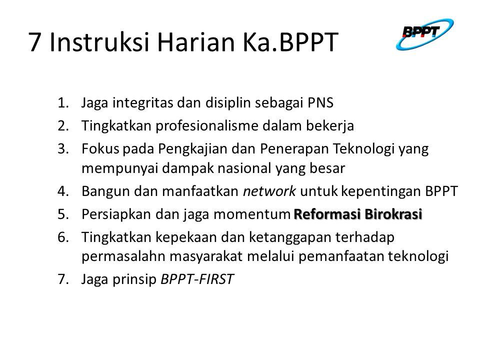 7 Instruksi Harian Ka.BPPT 1.Jaga integritas dan disiplin sebagai PNS 2.Tingkatkan profesionalisme dalam bekerja 3.Fokus pada Pengkajian dan Penerapan Teknologi yang mempunyai dampak nasional yang besar 4.Bangun dan manfaatkan network untuk kepentingan BPPT Reformasi Birokrasi 5.Persiapkan dan jaga momentum Reformasi Birokrasi 6.Tingkatkan kepekaan dan ketanggapan terhadap permasalahn masyarakat melalui pemanfaatan teknologi 7.Jaga prinsip BPPT-FIRST