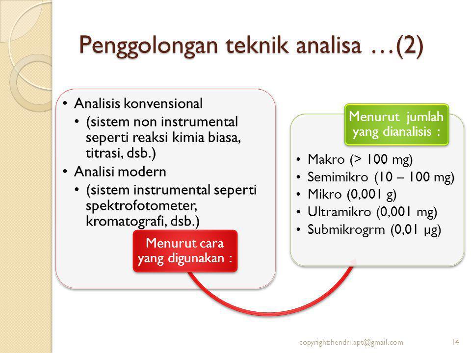 Penggolongan teknik analisa …(2) Analisis konvensional (sistem non instrumental seperti reaksi kimia biasa, titrasi, dsb.) Analisi modern (sistem instrumental seperti spektrofotometer, kromatografi, dsb.) Menurut cara yang digunakan : Makro (> 100 mg) Semimikro (10 – 100 mg) Mikro (0,001 g) Ultramikro (0,001 mg) Submikrogrm (0,01 µg) Menurut jumlah yang dianalisis : 14copyright:hendri.apt@gmail.com