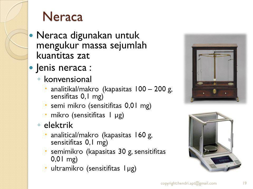 Neraca Neraca digunakan untuk mengukur massa sejumlah kuantitas zat Jenis neraca : ◦ konvensional  analitikal/makro (kapasitas 100 – 200 g, sensifita