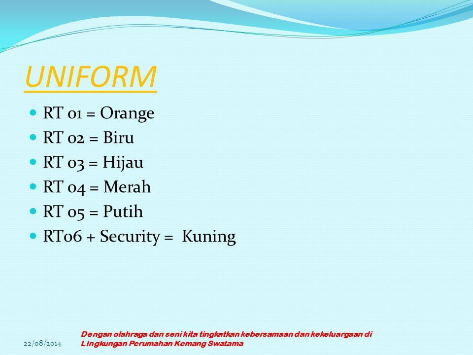 UNIFORM RT 01 = Orange RT 02 = Biru RT 03 = Hijau RT 04 = Merah RT 05 = Putih RT06 + Security = Kuning 22/08/2014 Dengan olahraga dan seni kita tingka