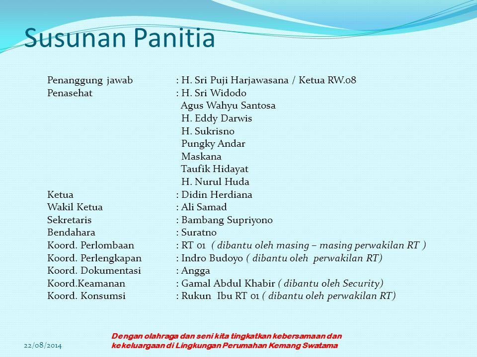 Susunan Panitia Penanggung jawab: H. Sri Puji Harjawasana / Ketua RW.08 Penasehat: H. Sri Widodo Agus Wahyu Santosa H. Eddy Darwis H. Sukrisno Pungky