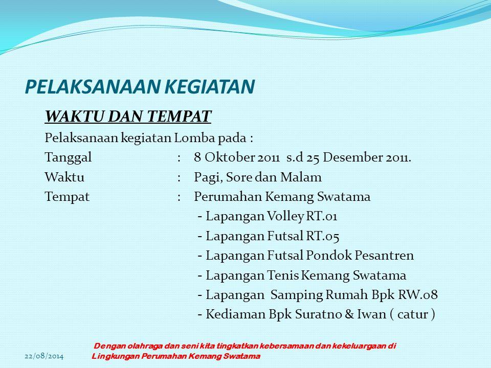 PELAKSANAAN KEGIATAN WAKTU DAN TEMPAT Pelaksanaan kegiatan Lomba pada : Tanggal: 8 Oktober 2011 s.d 25 Desember 2011. Waktu: Pagi, Sore dan Malam Temp