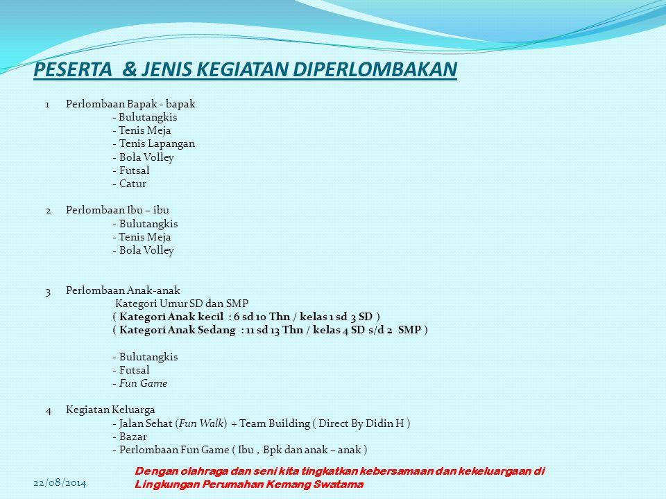 PESERTA & JENIS KEGIATAN DIPERLOMBAKAN 1Perlombaan Bapak - bapak - Bulutangkis - Tenis Meja - Tenis Lapangan - Bola Volley - Futsal - Catur 2Perlombaa