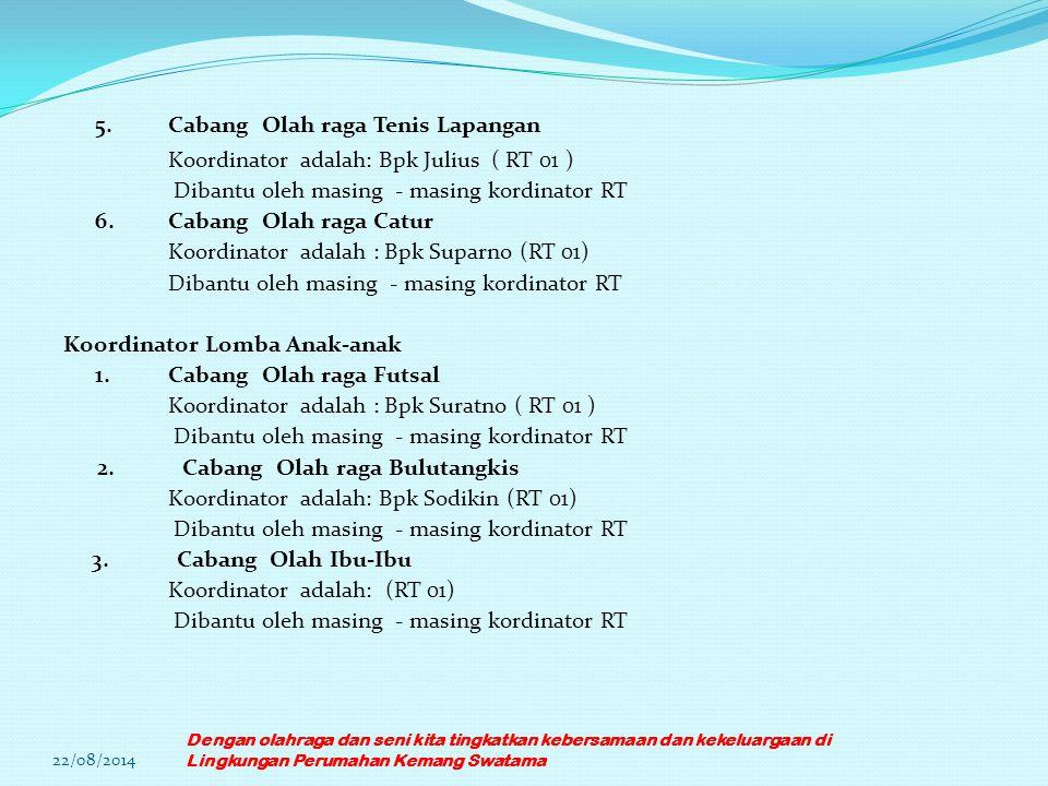 5.Cabang Olah raga Tenis Lapangan Koordinator adalah: Bpk Julius ( RT 01 ) Dibantu oleh masing - masing kordinator RT 6.Cabang Olah raga Catur Koordin