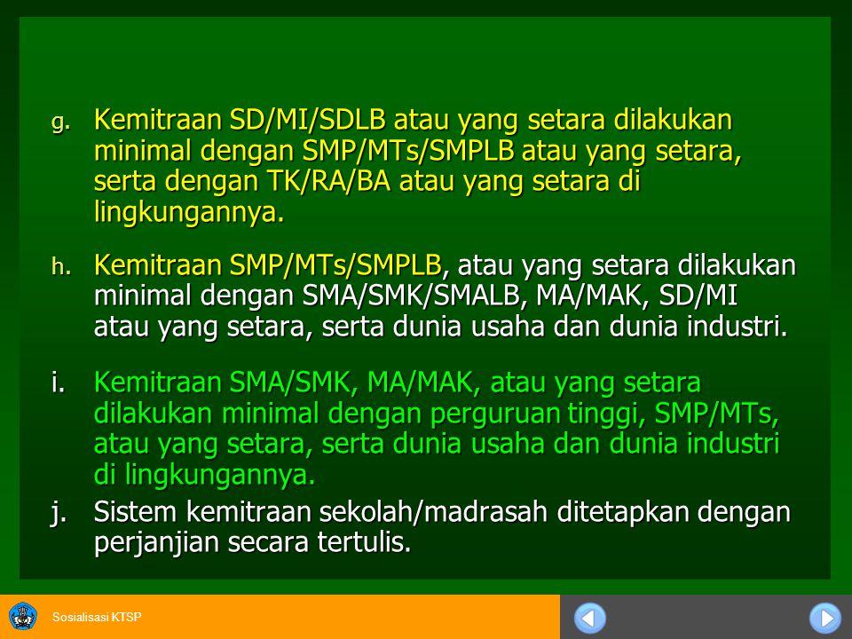 Sosialisasi KTSP 10.Peranserta Masyarakat dan Kemitraan Sekolah/Madrasah a.