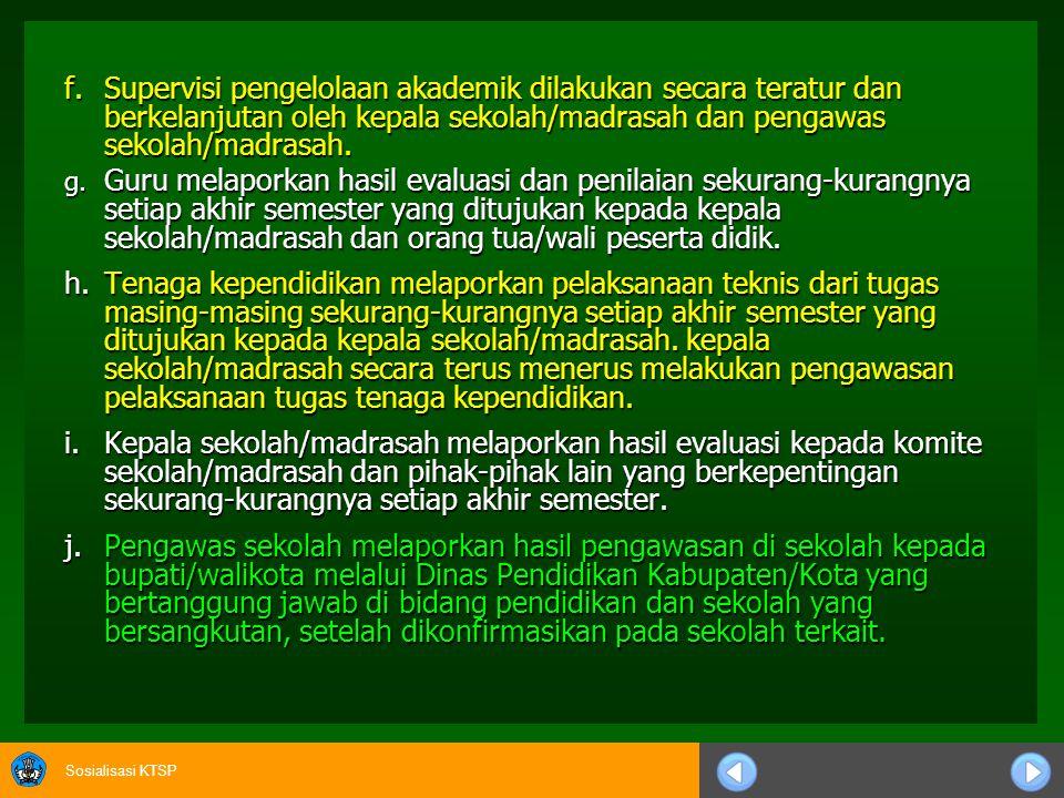 Sosialisasi KTSP c.PENGAWASAN DAN EVALUASI 1.Program Pengawasan a.