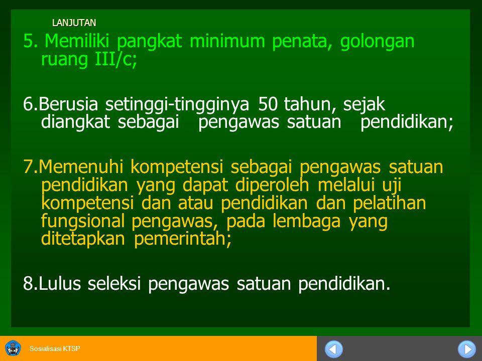 Sosialisasi KTSP KUALIFIKASI PENGAWAS SMP/MTS/SMA/MA/SMK/MAK 1.