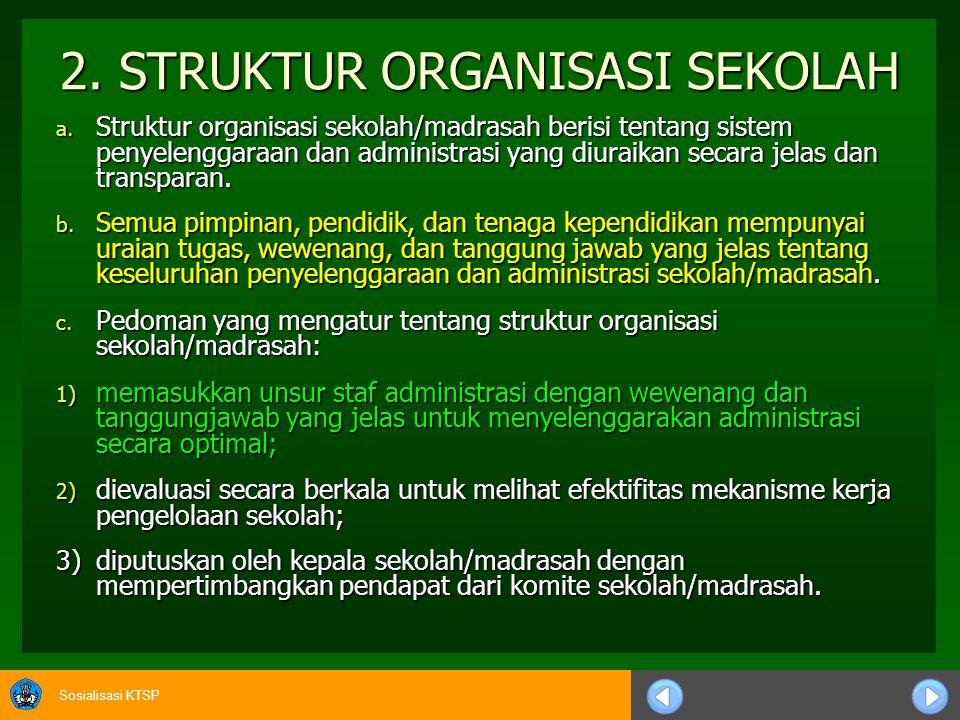 Sosialisasi KTSP c.Pedoman pengelolaan sekolah/madrasah meliputi: 1)kurikulum tingkat satuan pendidikan (KTSP); 1)kurikulum tingkat satuan pendidikan (KTSP); 2)kalender pendidikan/akademik; 2)kalender pendidikan/akademik; 3)struktur organisasi sekolah/madrasah; 3)struktur organisasi sekolah/madrasah; 4)pembagian tugas di antara guru; 4)pembagian tugas di antara guru; 5)pembagian tugas di antara tenaga kependidikan; 5)pembagian tugas di antara tenaga kependidikan; 6)peraturan akademik; 6)peraturan akademik; 7)tata tertib sekolah/madrasah; 7)tata tertib sekolah/madrasah; 8)kode etik sekolah/madrasah; 8)kode etik sekolah/madrasah; 9)biaya operasional sekolah/madrasah.