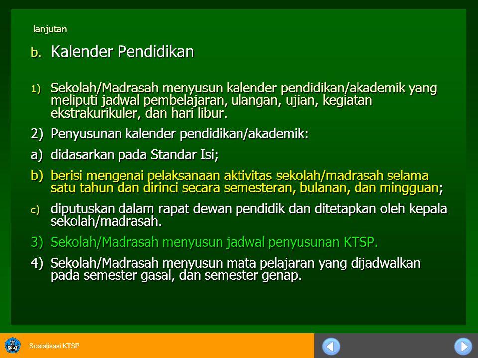 Sosialisasi KTSP lanjutan 6) Setiap guru bertanggungjawab menyusun silabus mata pelajaran yang diampunya sesuai dengan S I, S K L, dan Panduan Penyusunan KTSP.