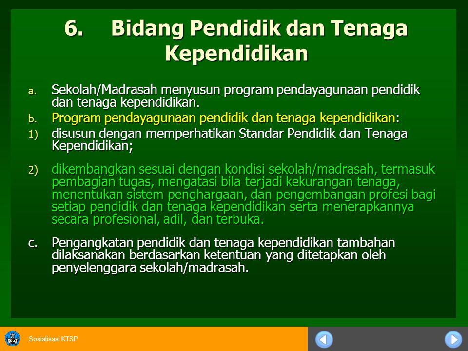 Sosialisasi KTSP e.Peraturan Akademik 1) Sekolah/Madrasah menyusun dan menetapkan Peraturan Akademik.