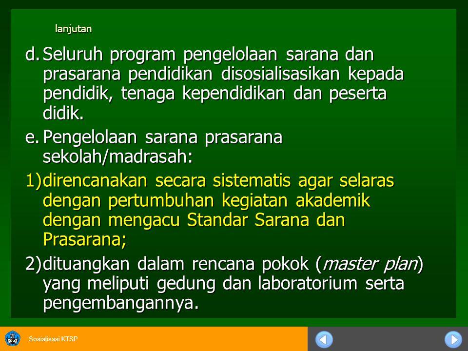 Sosialisasi KTSP 7.Bidang Sarana dan Prasarana a.Sekolah/Madrasah menetapkan kebijakan program secara tertulis mengenai pengelolaan sarana dan prasarana.