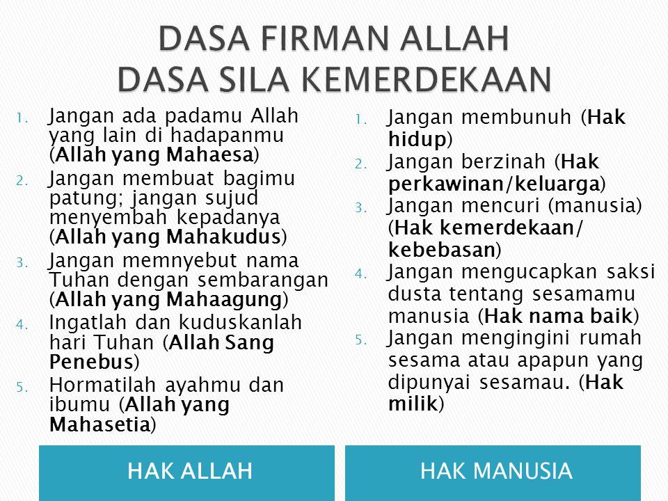 HAK ALLAHHAK MANUSIA 1. Jangan ada padamu Allah yang lain di hadapanmu (Allah yang Mahaesa) 2. Jangan membuat bagimu patung; jangan sujud menyembah ke
