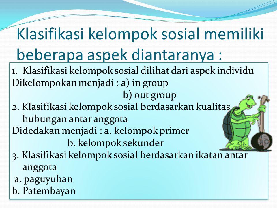 Klasifikasi kelompok sosial memiliki beberapa aspek diantaranya : 1.Klasifikasi kelompok sosial dilihat dari aspek individu Dikelompokan menjadi : a) in group b) out group 2.
