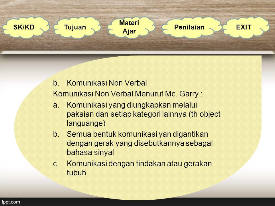 b.Komunikasi Non Verbal Komunikasi Non Verbal Menurut Mc. Garry : a.Komunikasi yang diungkapkan melalui pakaian dan setiap kategori lainnya (th object