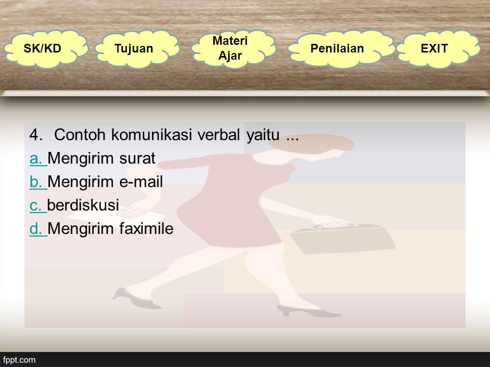 4.Contoh komunikasi verbal yaitu... a. a. Mengirim surat b. b. Mengirim e-mail c. c. berdiskusi d. d. Mengirim faximile SK/KD Tujuan Materi Ajar Penil