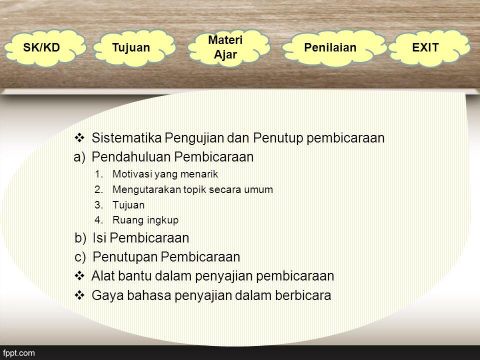  Sistematika Pengujian dan Penutup pembicaraan a)Pendahuluan Pembicaraan 1.Motivasi yang menarik 2.Mengutarakan topik secara umum 3.Tujuan 4.Ruang in