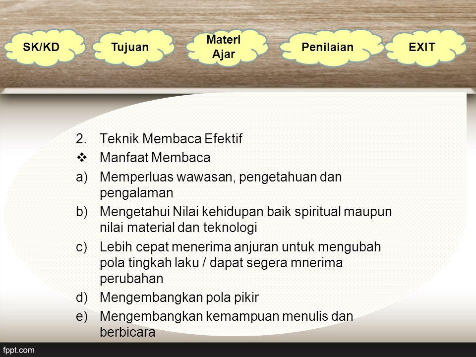 2.Teknik Membaca Efektif  Manfaat Membaca a)Memperluas wawasan, pengetahuan dan pengalaman b)Mengetahui Nilai kehidupan baik spiritual maupun nilai m
