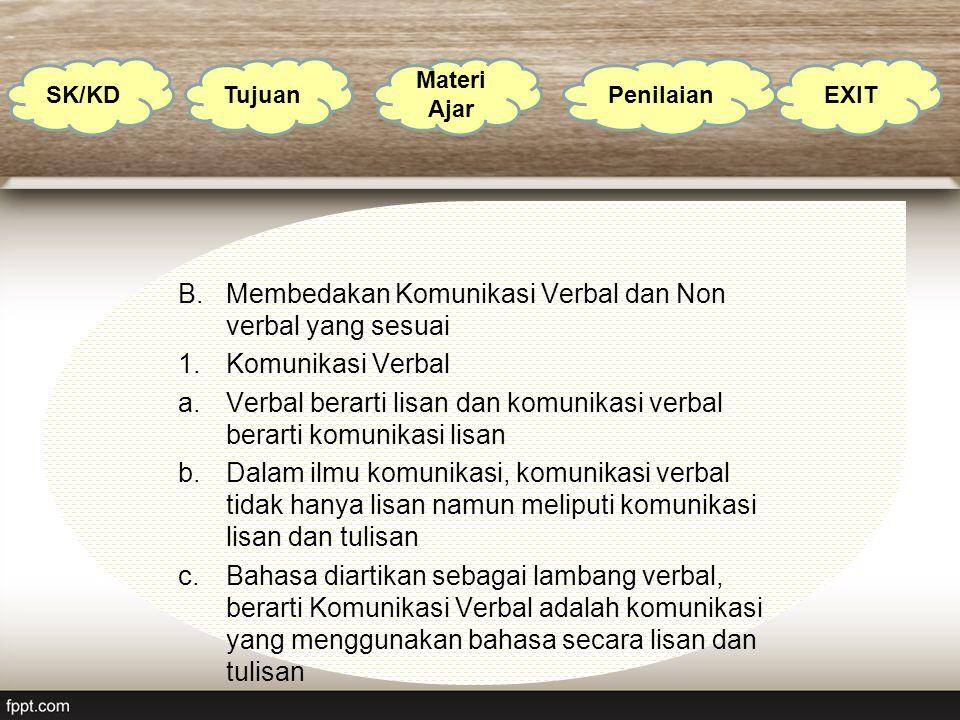 B.Membedakan Komunikasi Verbal dan Non verbal yang sesuai 1.Komunikasi Verbal a.Verbal berarti lisan dan komunikasi verbal berarti komunikasi lisan b.
