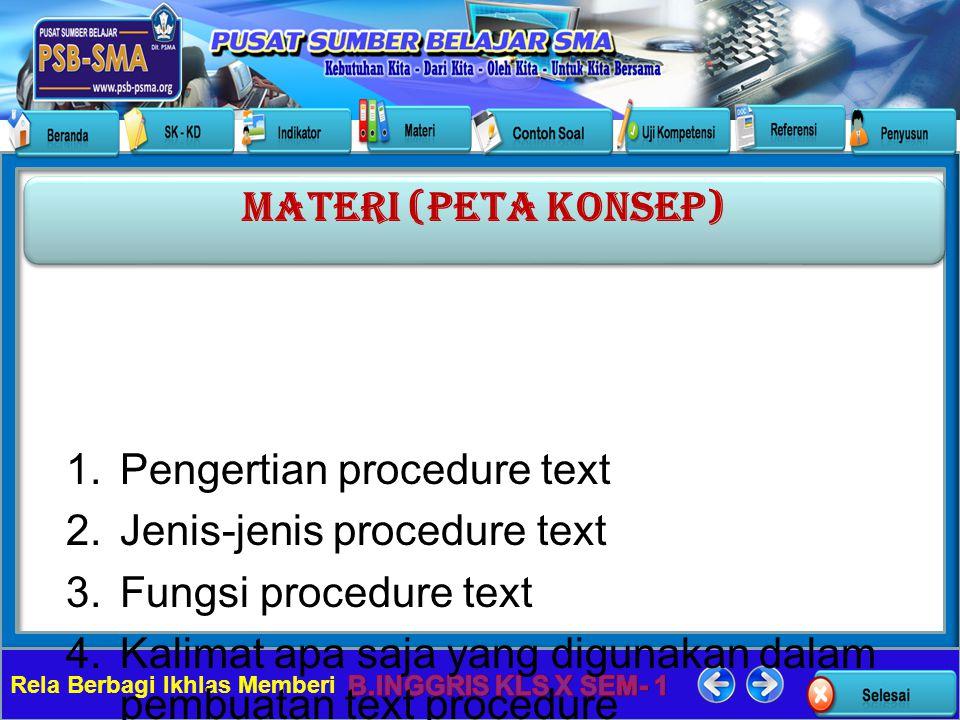 Rela Berbagi Ikhlas Memberi 1.Pengertian procedure text 2.Jenis-jenis procedure text 3.Fungsi procedure text 4.Kalimat apa saja yang digunakan dalam p