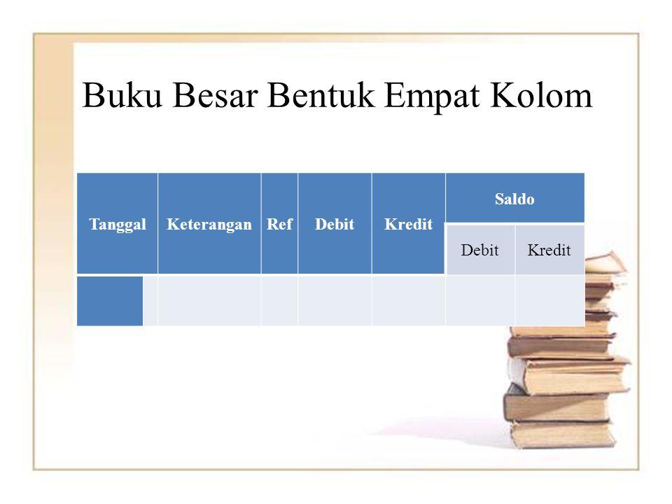 Buku Besar Bentuk Empat Kolom TanggalKeteranganRefDebitKredit Saldo DebitKredit