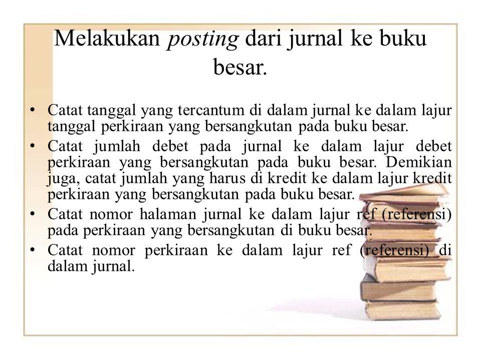 Melakukan posting dari jurnal ke buku besar. Catat tanggal yang tercantum di dalam jurnal ke dalam lajur tanggal perkiraan yang bersangkutan pada buku