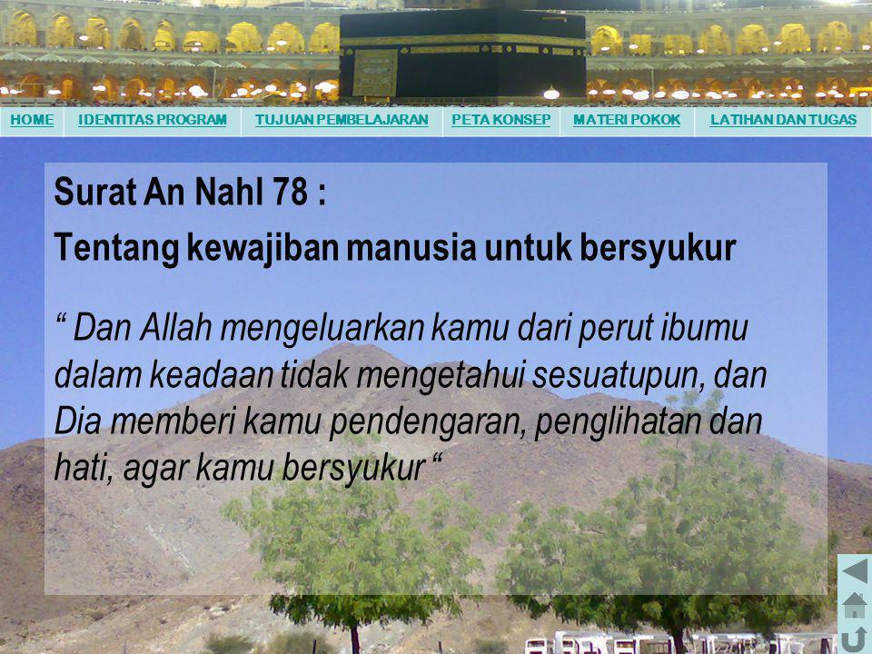 """HOMEIDENTITAS PROGRAMTUJUAN PEMBELAJARANPETA KONSEPMATERI POKOKLATIHAN DAN TUGAS Surat Al-Dzariyah ayat 56 : Tentang tugas manusia """" Dan Aku tidak men"""
