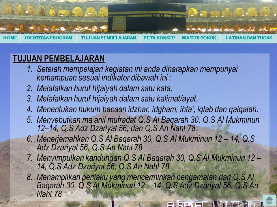 HOMEIDENTITAS PROGRAMTUJUAN PEMBELAJARANPETA KONSEPMATERI POKOKLATIHAN DAN TUGAS KOMPETENSI DASAR 1.Membaca QS. Al Baqarah; 30, Al Mukminun; 12 – 14,