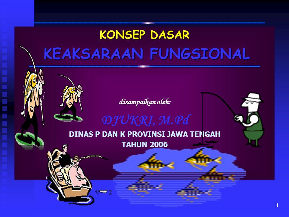 1 KONSEP DASAR KEAKSARAAN FUNGSIONAL KEAKSARAAN FUNGSIONAL disampaikan oleh: DJUKRI, M.Pd DINAS P DAN K PROVINSI JAWA TENGAH TAHUN 2006